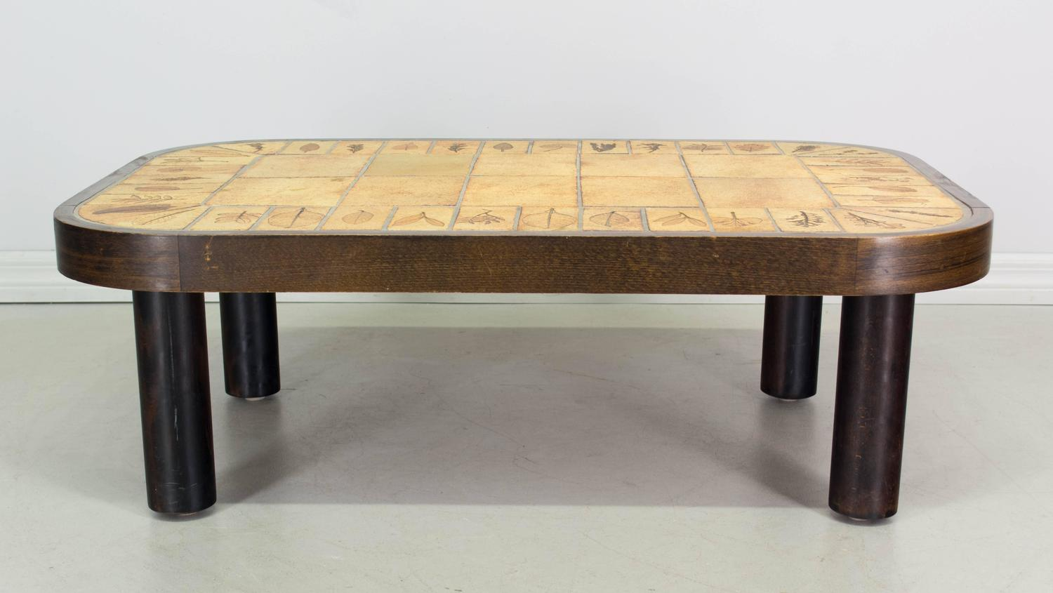 roger capron ceramic tile top coffee table for sale at 1stdibs