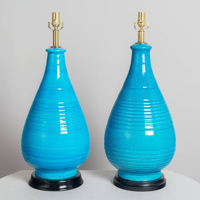 American Pair of Large Frederick Cooper Ceramic Lamps For Sale