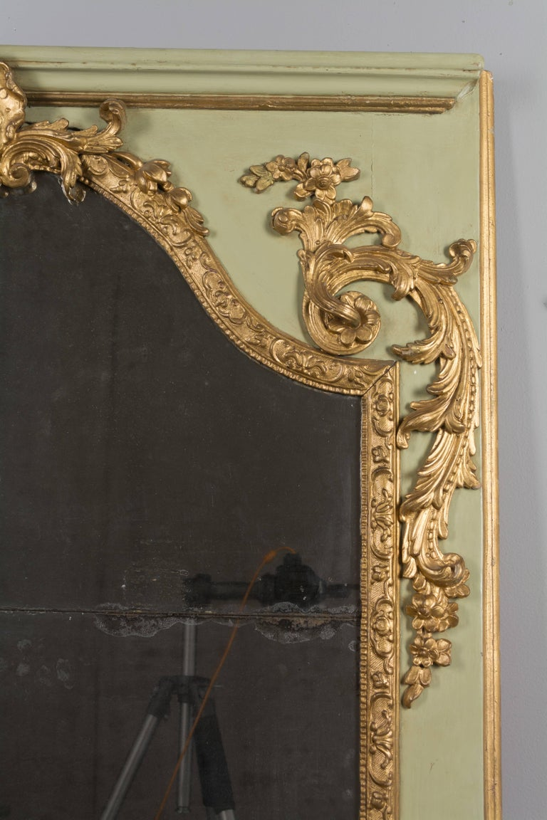 Hand-Crafted Louis XVI French Trumeau Mirror For Sale