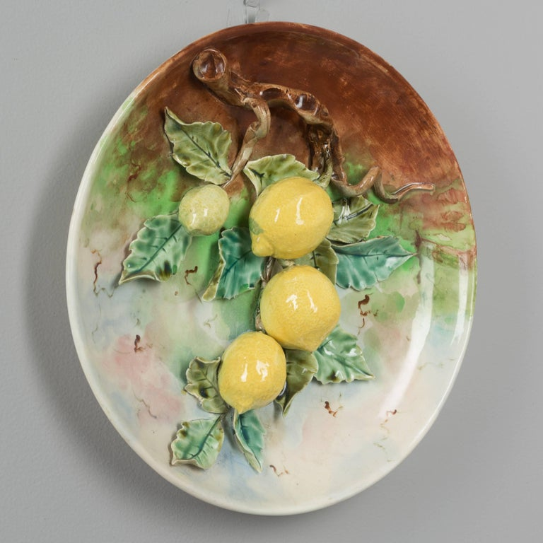 19th Century French Barbotine Wall Platter with Lemons For Sale at ...