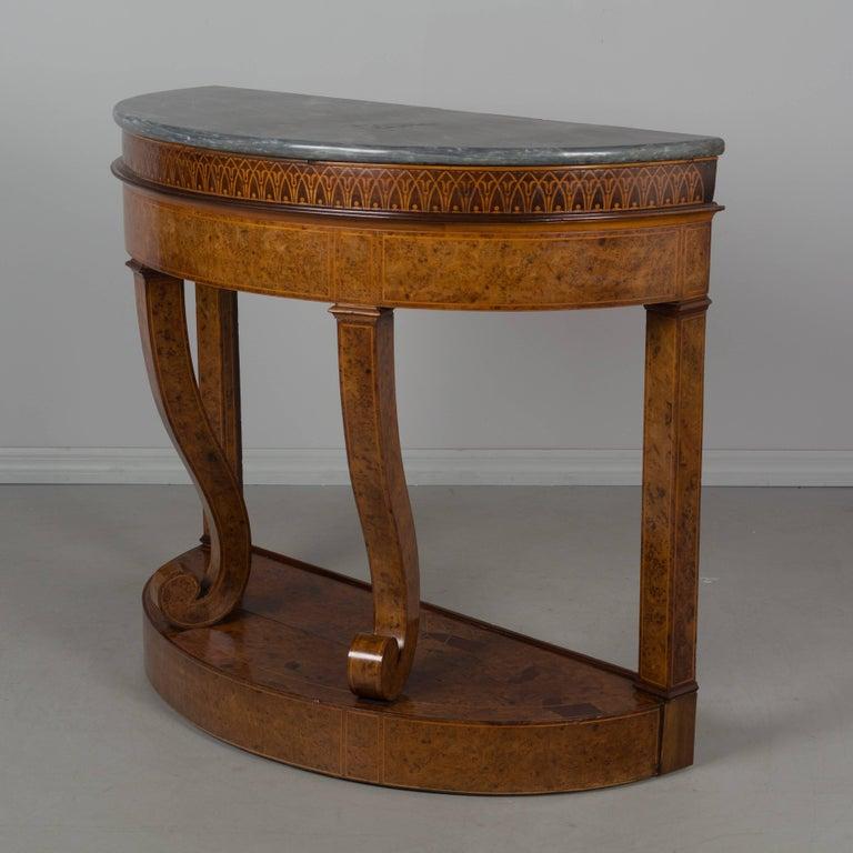 German 19th Century Biedermeier Demilune Console Jardiniere For Sale