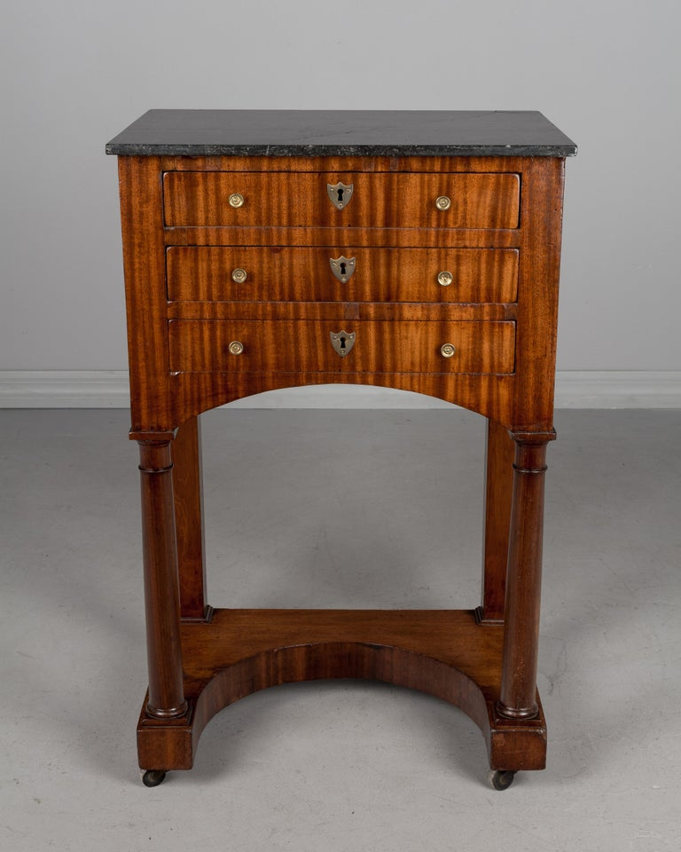 Veneer 19th Century French Empire Side Table For Sale