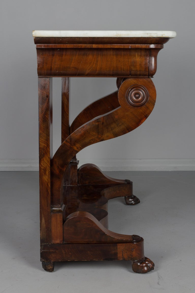 Marble 19th Century French Louis-Philippe Mahogany Console For Sale