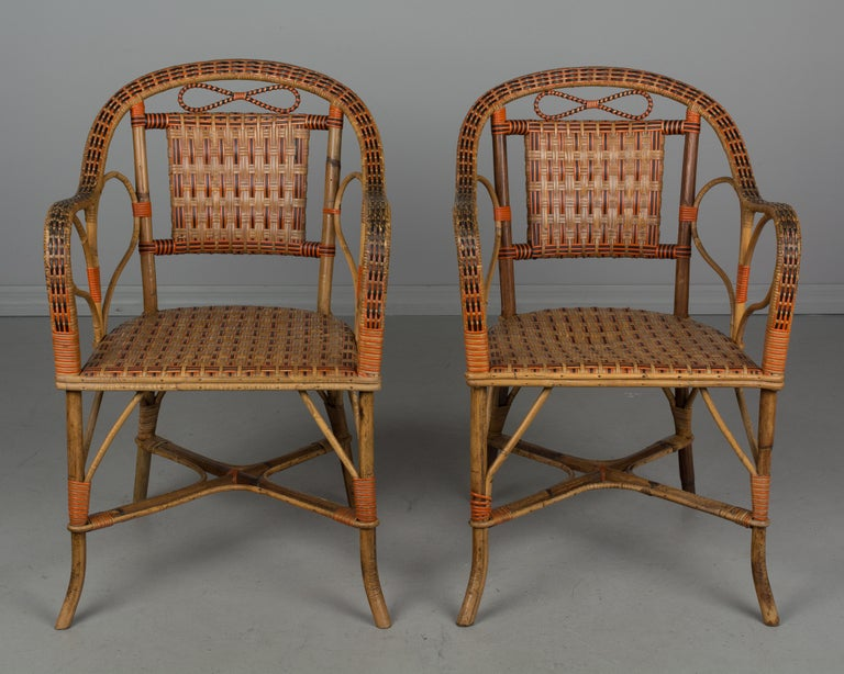 20th Century 19th Century French Wicker Dining Set For Sale