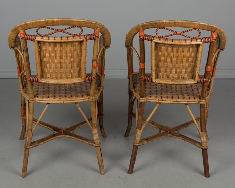 Bamboo 19th Century French Wicker Dining Set For Sale