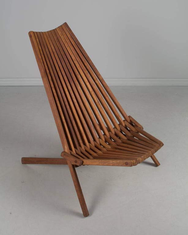 Mid Century Teak Folding Chair For Sale 1