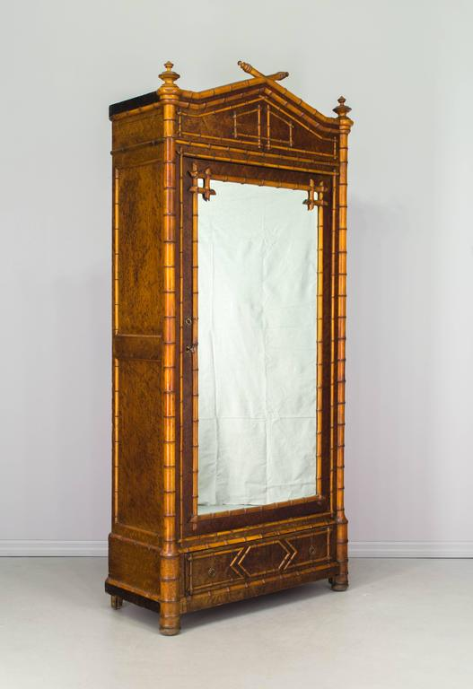 19th Century French Faux Bamboo Armoire At 1stdibs