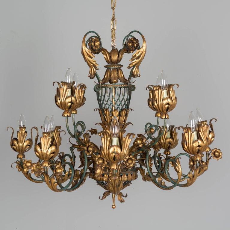 French 1940s Parcel-Gilt Chandelier For Sale 3