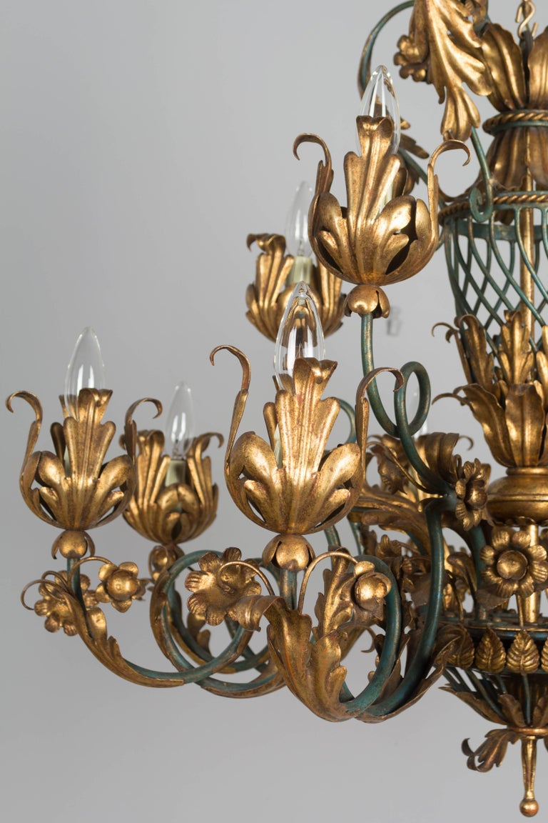 French 1940s Parcel-Gilt Chandelier For Sale 2