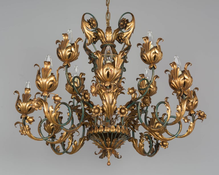 Louis XV French 1940s Parcel-Gilt Chandelier For Sale
