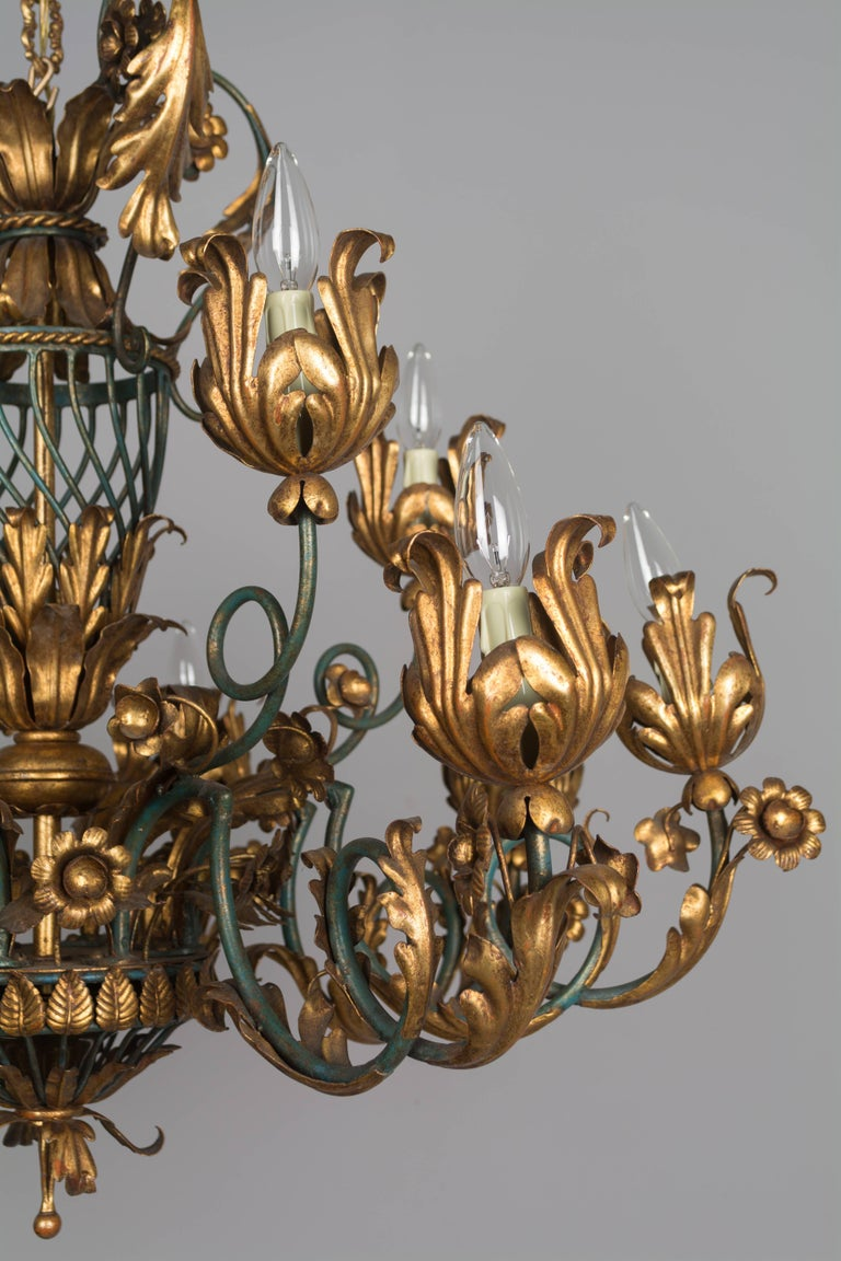 French 1940s Parcel-Gilt Chandelier For Sale 1
