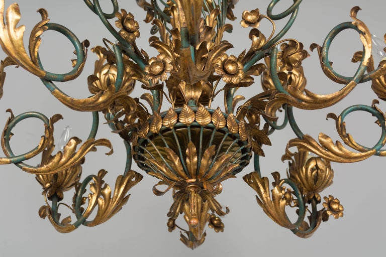 French 1940s Parcel-Gilt Chandelier In Excellent Condition For Sale In Winter Park, FL