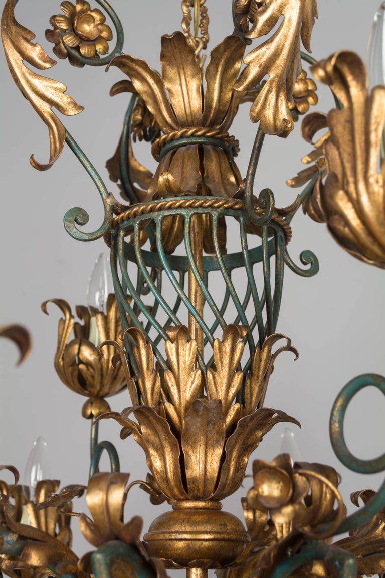 Wrought Iron French 1940s Parcel-Gilt Chandelier For Sale