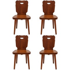 Set of Four Rustic Wooden Chairs
