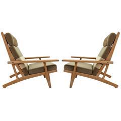 Hans Wegner High Back Lounge Chairs, Model GE-375