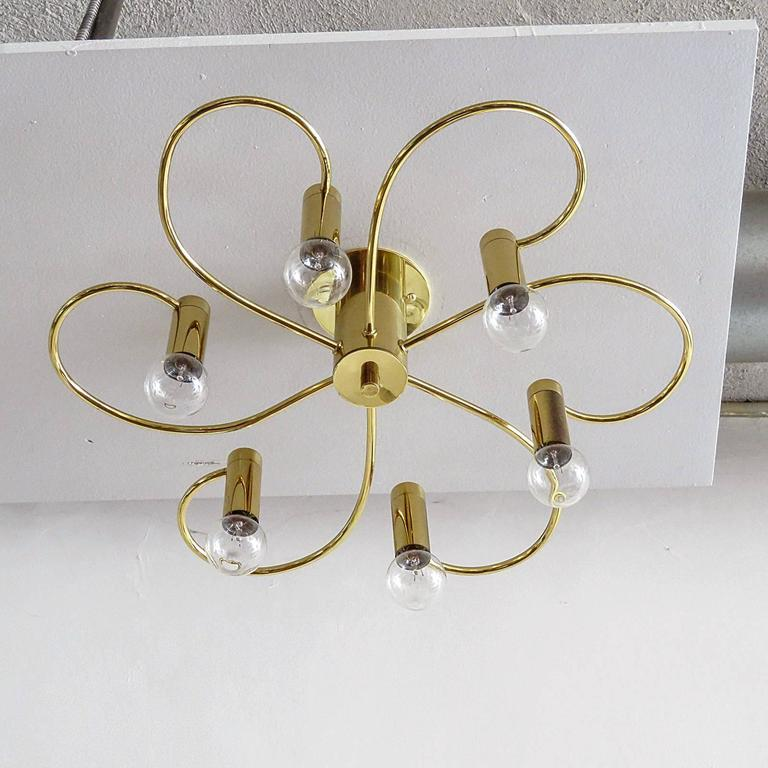 German Six-Arm Flush Mount Chandelier In Excellent Condition For Sale In Los Angeles, CA