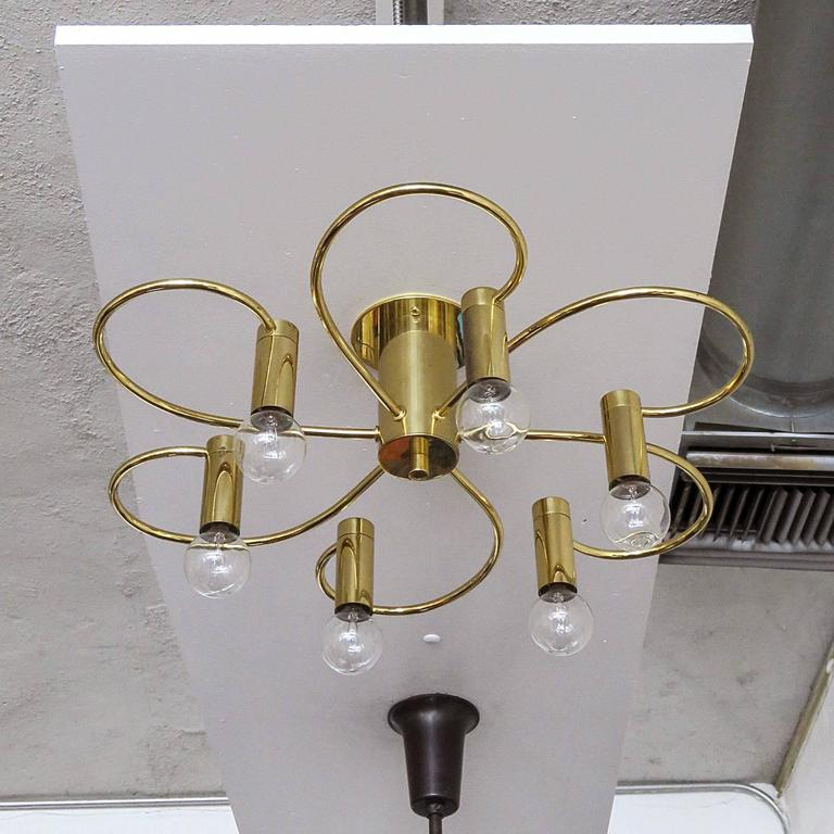 Sculptural brass light flush mount ceiling light by Honsel Germany with six organically shaped arms, can be used as wall sconce.