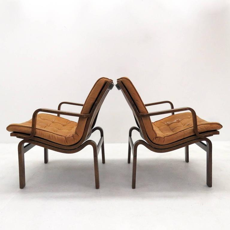 Danish Bentwood Leather Chairs In Excellent Condition For Sale In Los  Angeles, CA