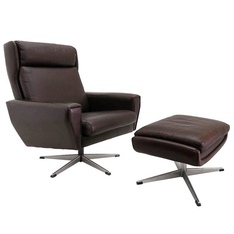 Danish Leather Lounge Chair With Ottoman For Sale