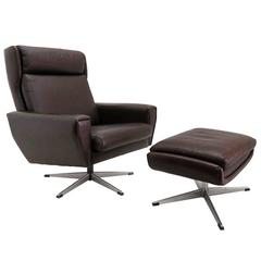 Danish Leather Lounge Chair with Ottoman