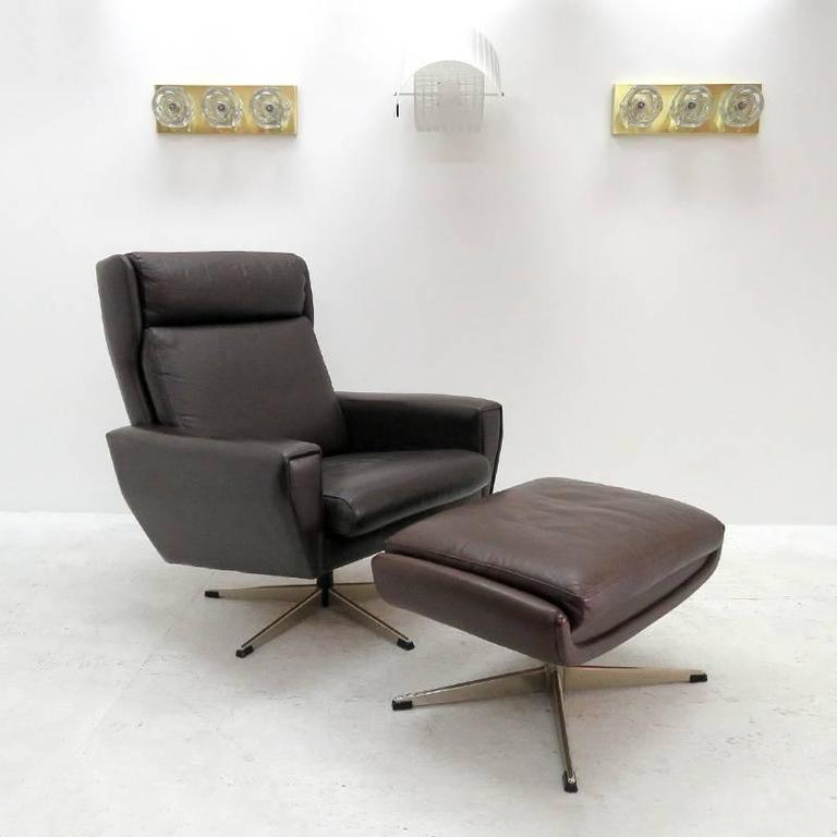 Wonderful Georg Thams Attributed Wing Back Lounge Chair With Ottoman In  Dark Brown Leather And Chrome