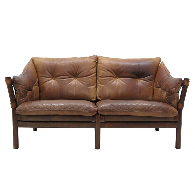 Leather Settee Model 'Ilona' by Arne Norell