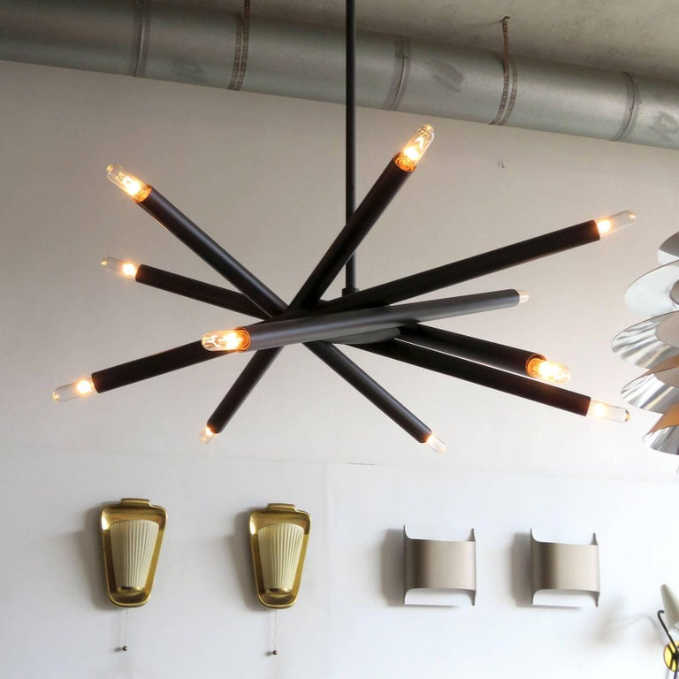 Spiral ML-6 Orb Chandelier In Excellent Condition For Sale In Los Angeles, CA