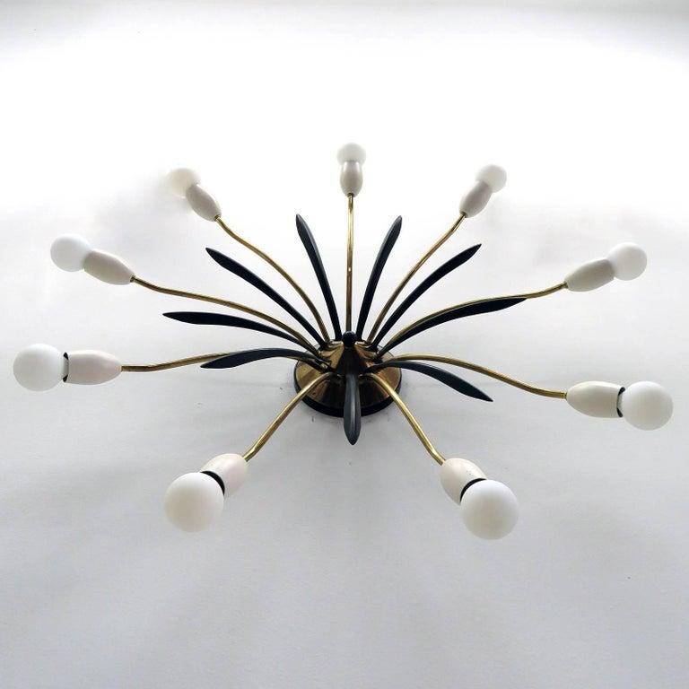 Enameled German Nine-Arm Sputnik Light, 1950s For Sale