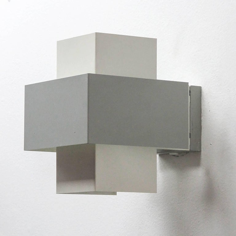 Pair of philips wall lights for sale at 1stdibs elegant geometric wall lights by philips netherlands 1960s in light grey and white aloadofball Choice Image