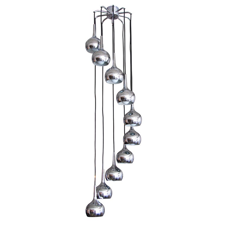 Ten-Tier Chrome Cascading Chandelier For Sale