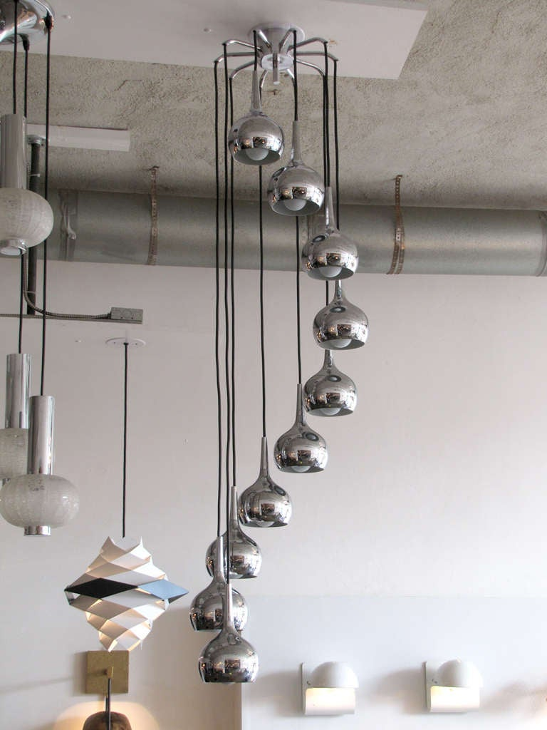 Scandinavian Modern Ten-Tier Chrome Cascading Chandelier For Sale