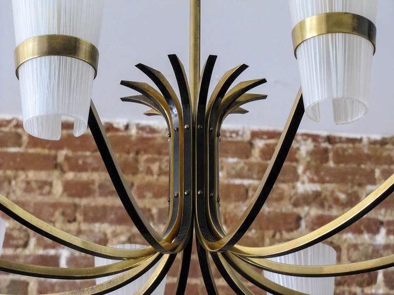 Brass German Twelve-Arm Chandelier For Sale