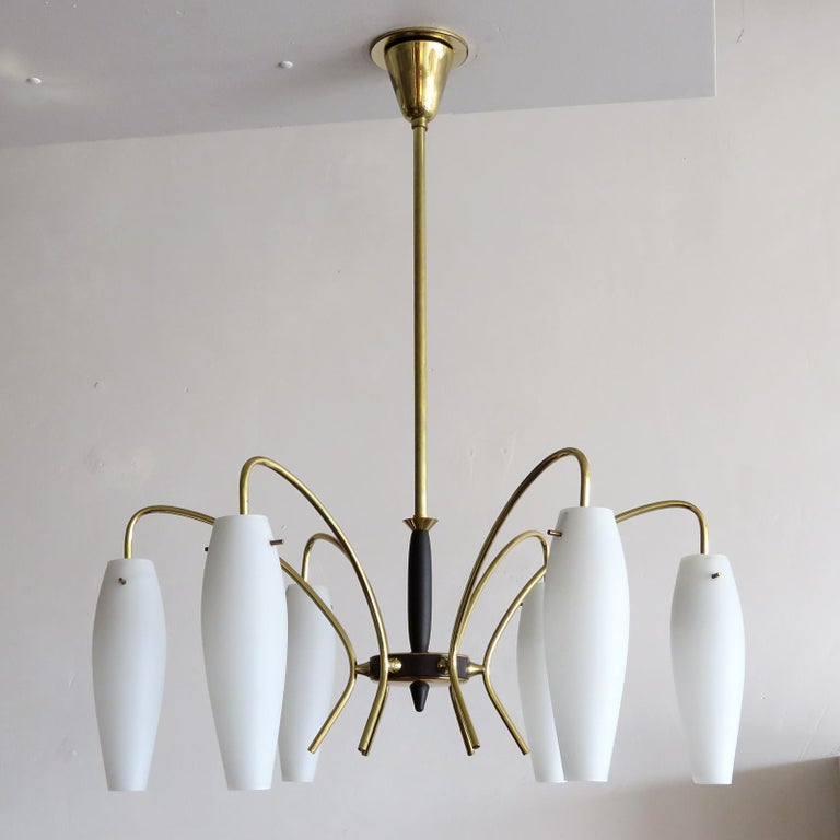Stunning German six-light chandelier from the 1950s, in brass with matte white opaline glass shades.