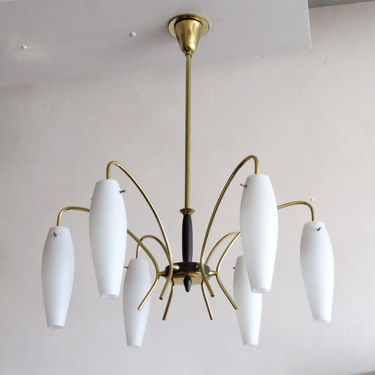 Enameled German Six-Light Chandelier, 1950 For Sale