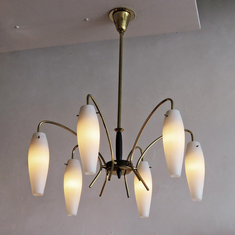 German Six-Light Chandelier, 1950 For Sale 3