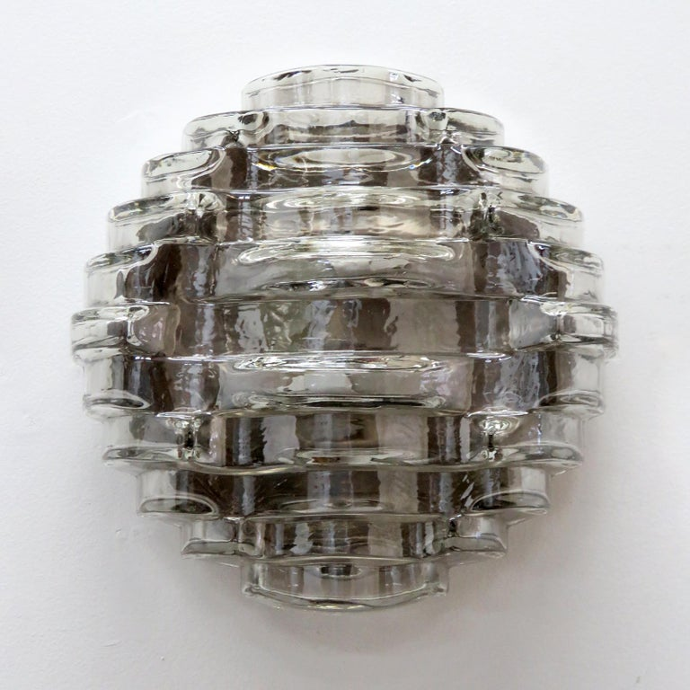 Wonderful heavy, textured smoked glass wall light or flush mount. NOS (new old stock).