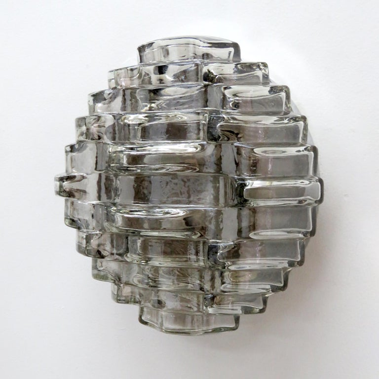 Mid-Century Modern Art Glass Wall Light by Hillebrand For Sale