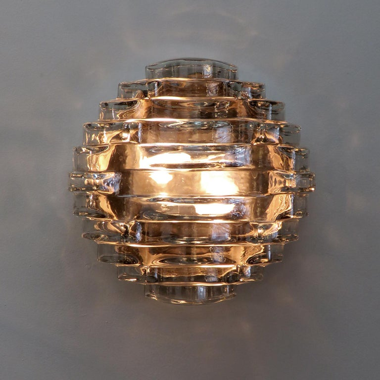 Metal Art Glass Wall Light by Hillebrand For Sale