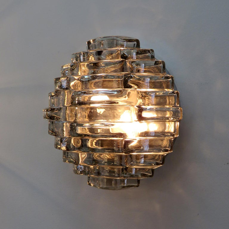 Art Glass Wall Light by Hillebrand For Sale 1