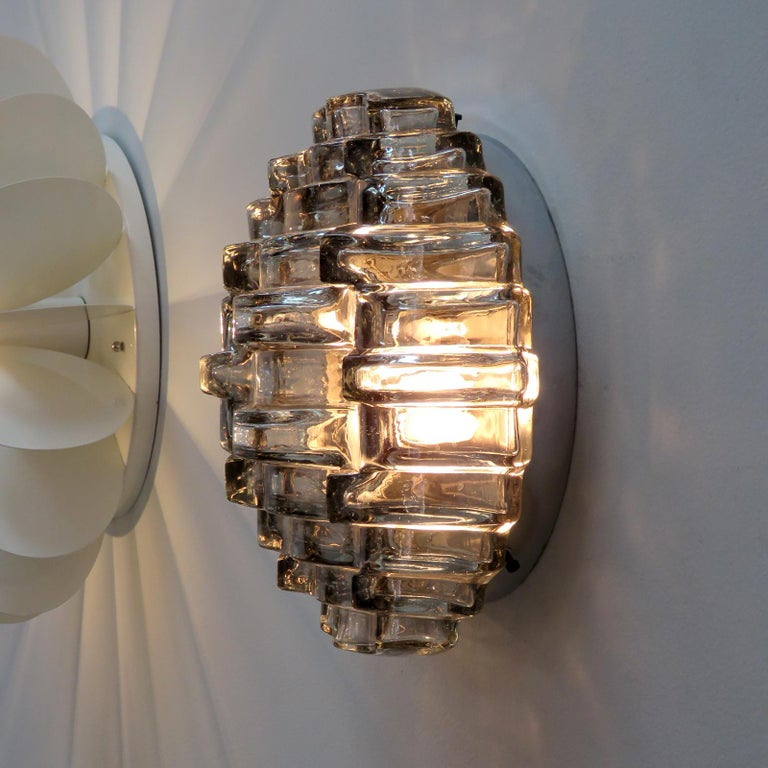 Art Glass Wall Light by Hillebrand For Sale 2