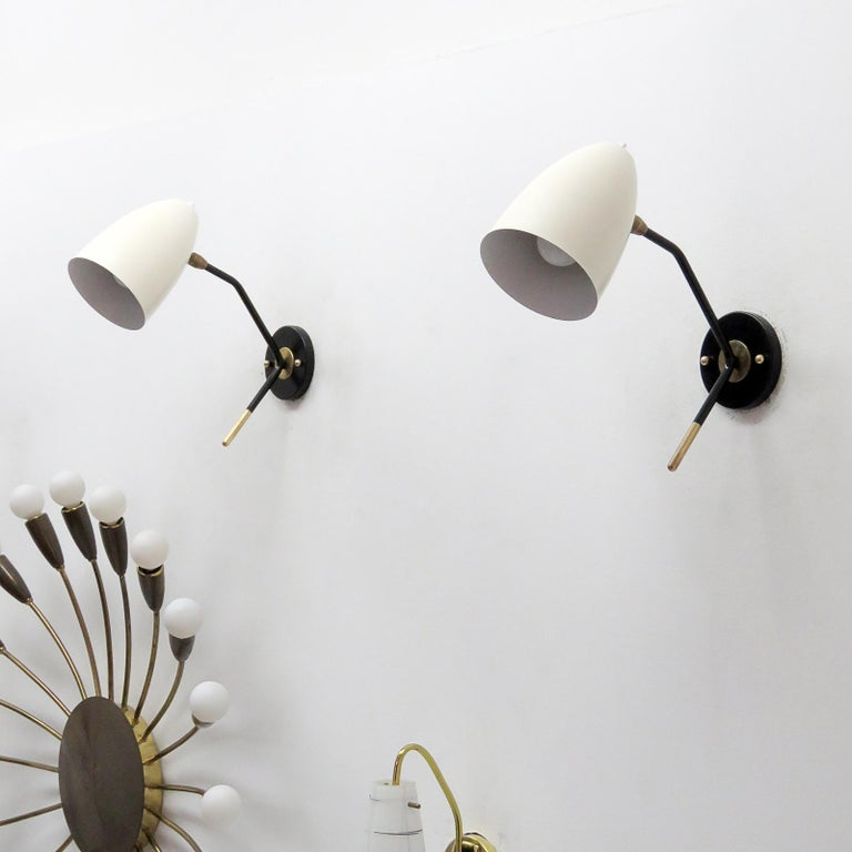 Enameled Brass Wall Lights 'L3GG' For Sale