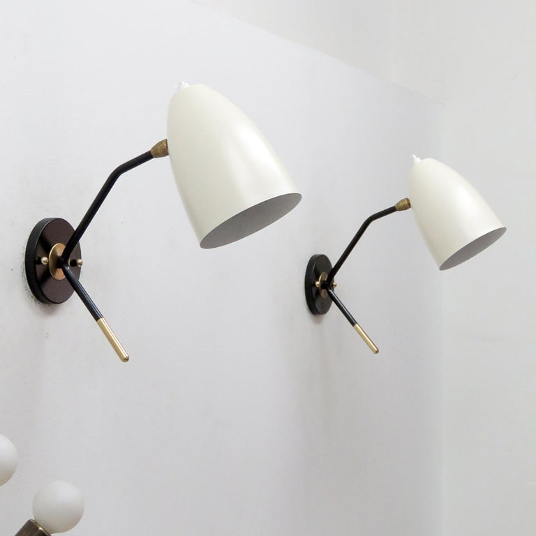 Brass Wall Lights 'L3GG' In Excellent Condition For Sale In Los Angeles, CA