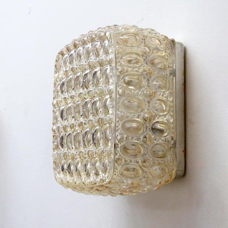 Mid-Century Modern Pair of Art Glass Wall Lights by Glashütte Limburg For Sale