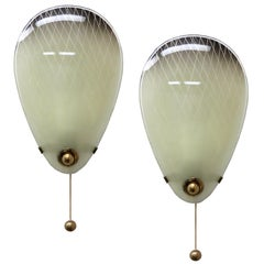 Pair of Italian Glass Wall Lights
