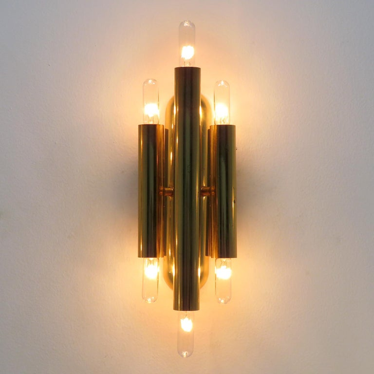 German Three-Arm Double Candle Wall Lights For Sale 1