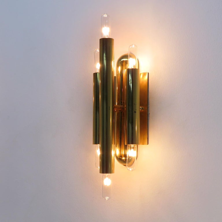 German Three-Arm Double Candle Wall Lights For Sale 2