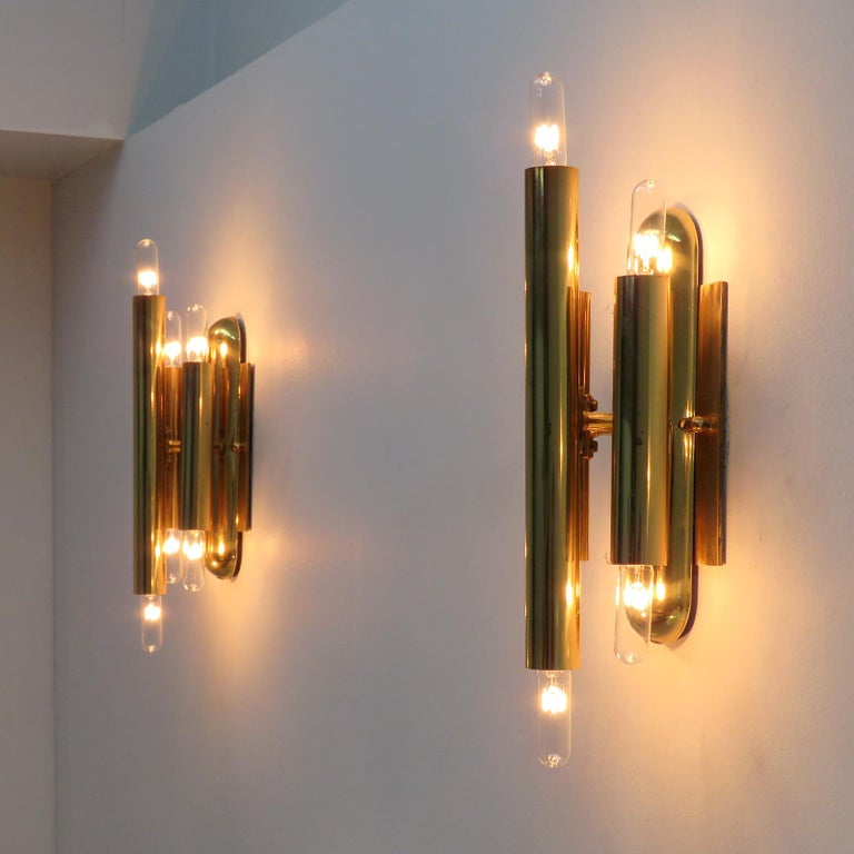German Three-Arm Double Candle Wall Lights For Sale 4