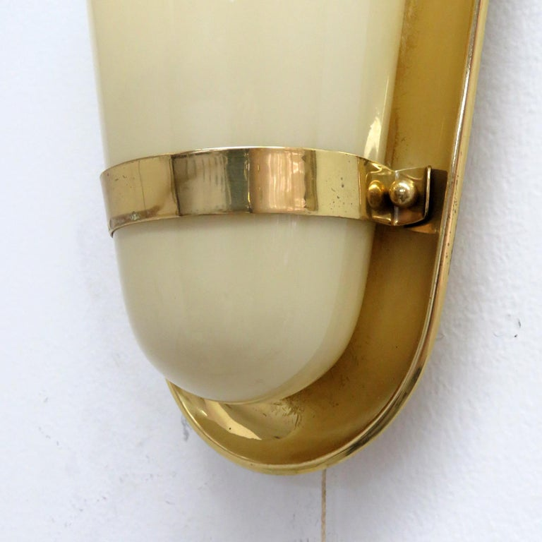 Glass Pair of 1950s German Wall Lights For Sale