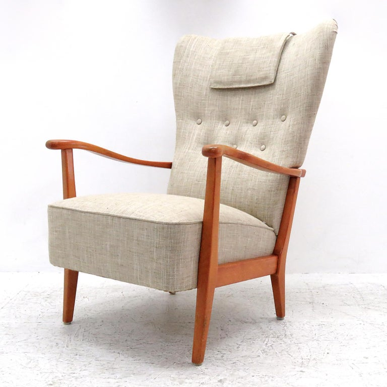 Stained Danish Modern High Back Chair by Dux, 1940 For Sale