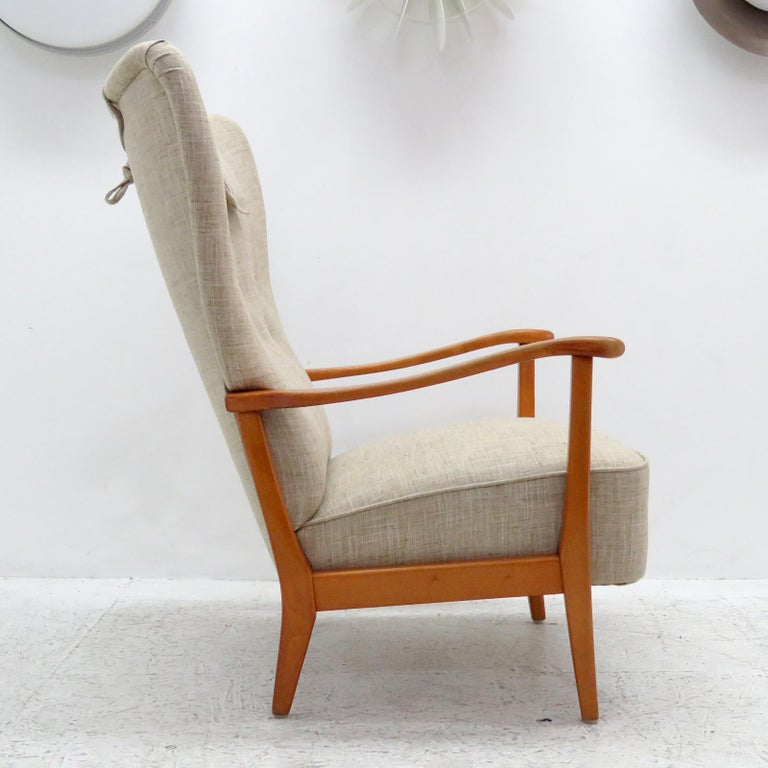 Beech Danish Modern High Back Chair by Dux, 1940 For Sale
